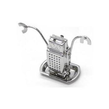 Infuseur à thé Robot et sa soucoupe Gris aluminium Acier inoxydable