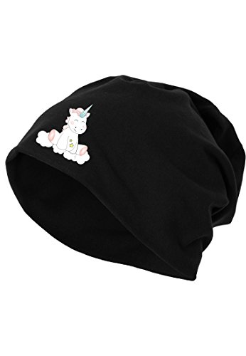 Jersey Beanie Mütze Wintermütze Stretch Unicorn Einhorn cutie