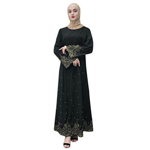 e676041dc7f4 Lazzboy Frauen Durchbrochene Stickerei Langes Kleid Robe Offen Abaya  Cardigan Muslimischen Dubai Gown Streifen Bescheiden Lange Kleider Voller  ärmel ...