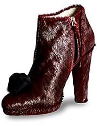 c09a4e7eb719 Mifani-Burgundy Calf Hair Pom Pom Boot Size  4