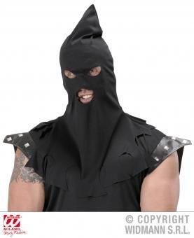 Henker Maske Kostüm (Henker Maske Henkersmütze Vollstrecker Mittelalter Haube schwarz Henkerhaube)