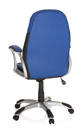hjh OFFICE 621301 silla gaming RACER 200 piel sintética azul / negro, racing, deportivo, apoyabrazos acolchados, mecanismo de inclinación, cómoda, buen precio, inclinable, resistente, silla de oficina