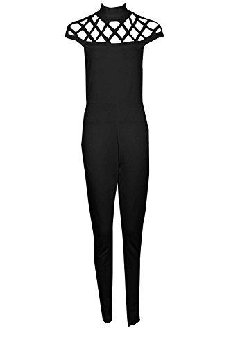Noir Femmes Boutique Anni Statement Cou Maigre Leg Jumpsuit Noir