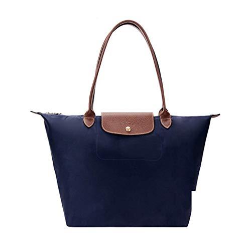 DeLamode Femmes Long Champ Handbags Grande capacité à bandoulière en Cuir Sac en Toile Pliable Big-556