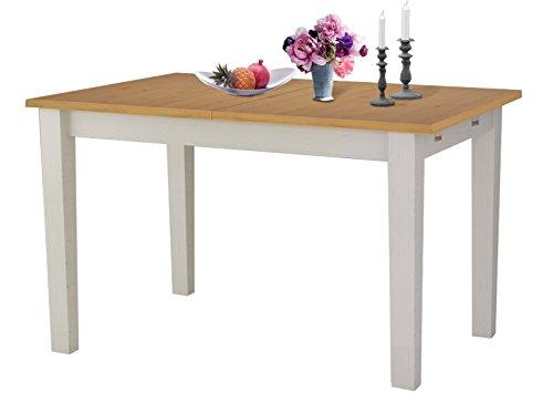 TAVIAN Ausziehbarer Esstisch Küchentisch Tisch 120 x 80 cm Kiefer Esszimer honig und weiß. Ausziehbar auf: 160 cm