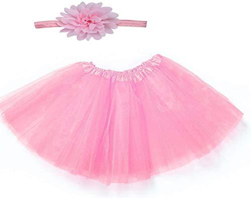 Gonna tulle neonata con fascia per capelli a fiore completo adatto per foto tg unica rosa confetto