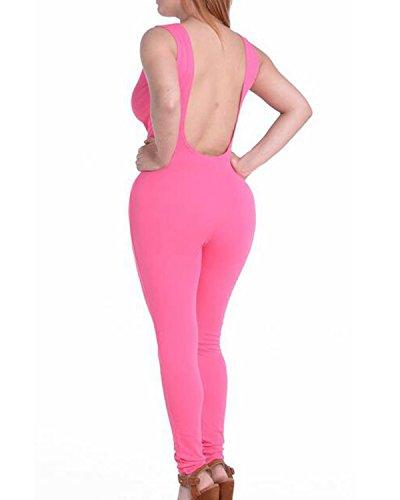 Auxo 10 Couleurs Femme Sexy Dos Nu Sans Manches Débardeur Serré Sports Clubwears Combinaisons Rose
