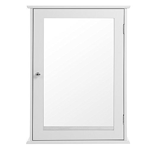 Songmics Spiegelschrank Badschrank Badezimmerschrank Hängeschrank eintürig mit Ablage zum Aufhängen ohne Beleuchtung aus Holz für Bad weiß 48 x 65,5 x 16 cm (B x H x T) LHC001