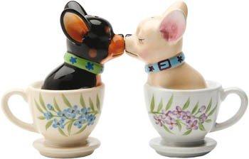 MC Kultige Salz und Pfefferstreuer aus Keramik Tea Cup küssende Chihuahua Pups magnetisch