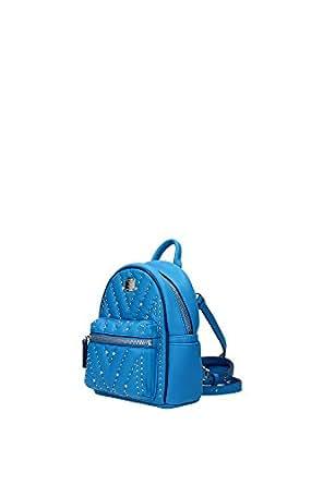 Bags Backpack MCM Women Leather Cerulean MWL6SKA14LW001 Light blue 8.5x17x21 cm