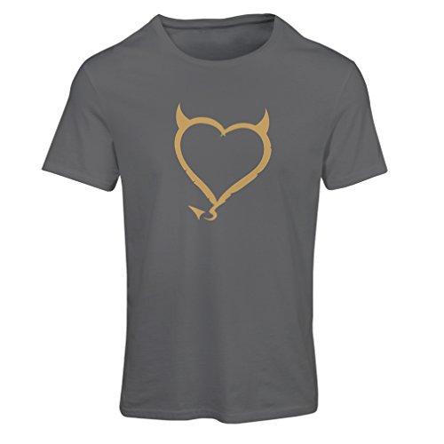 Frauen T-Shirt Teufel Herzen lustiges T-Shirt Geschenk Farben / Sizesblanc Graphit Gold