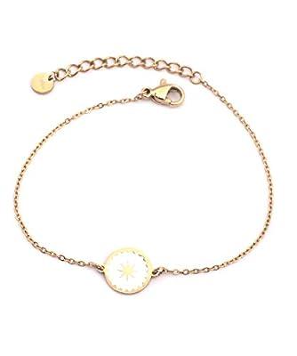 Bracelet petite Etoile en acier inoxydable Blanche/Dorée - Médaille étoile émaillée