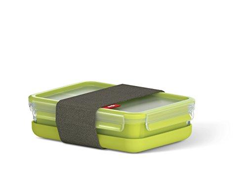 Emsa clip & go contenitore lunch box, trasparente/verde chiaro, 22.5 x 16.3 x 6.5 cm