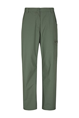 Mountain Warehouse Trek II Womens Trousers - Casual Ladies Pants, Lightweight, Quick Dry Hiking Pants, Velcro Pockets, Easy Pack Summer Trousers - for Travelling, Camping Khaki 8