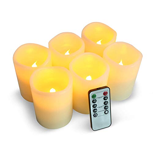 LED Kerzen,Flammenlose Kerzen 200 Stunden Dekorations-Kerzen-Säulen im 6er Set (3''*4''). Realistisch flackernde LED-Flammen 10-Tasten Fernbedienung mit 24 Stunden Timer-Funktion (6 * 1, Ivory) (Kerzen Säule Flammenlose)