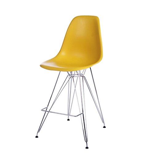 C&S Hochstuhl Rückenlehne Hocker Konferenztisch Bar Freizeit Hocker Verdickt Kunststoff Board Eisen Stuhl Füße (Color : Yellow)