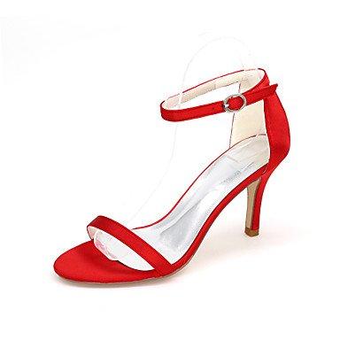 Wuyulunbi@ Scarpe donna raso Primavera Estate anello di convergenza scarpe matrimonio Stiletto Heel punta aperta la fibbia per la festa di nozze & sera un Champagne Blue Rosso