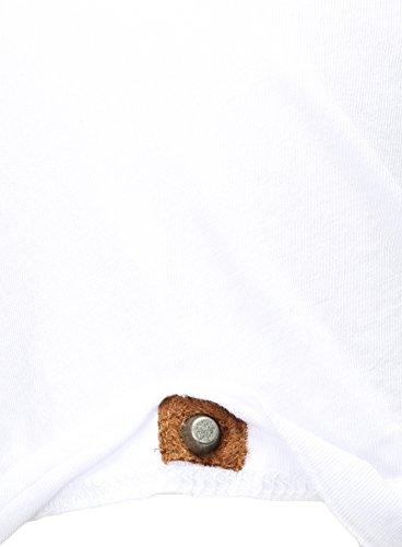 Key Largo Herren Sommer T-Shirt T Weapon Button Printshirt Slim Fit Schnitt V-Ausschnitt mit Knöpfen Weiß