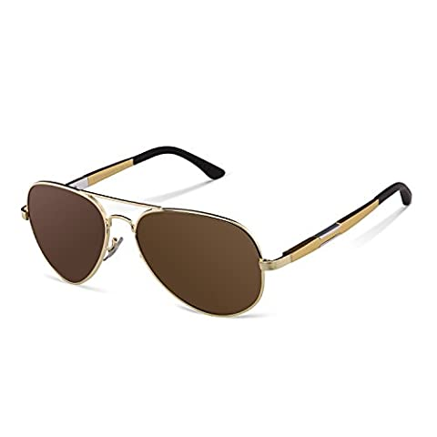 Duco Polarized Aviator Sunglasses Mens Womens for Outdoor Sports Fishing Golf 3026 (Gold/Brown)
