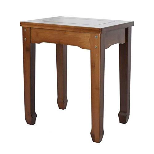Dall Tabouret Carré Bambou Tabouret De Table Salon Tabouret À Pansement Rétro Salon 35.5x24x42cm
