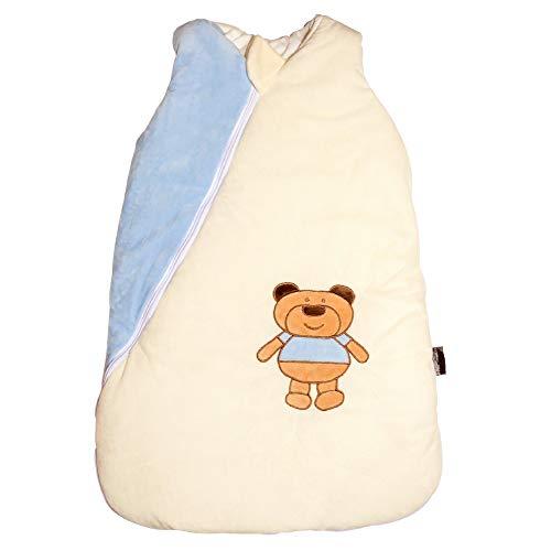 Ganzjahres Baby-Schlafsack in 70cm länge | blau/beige mit Teddymotiv | Wattiert mit Baumwolle | Ganzjährig in 2,5TOG | Erstausstattung für neugeborene Jungen zwischen 0-10 Monate von MF-Products