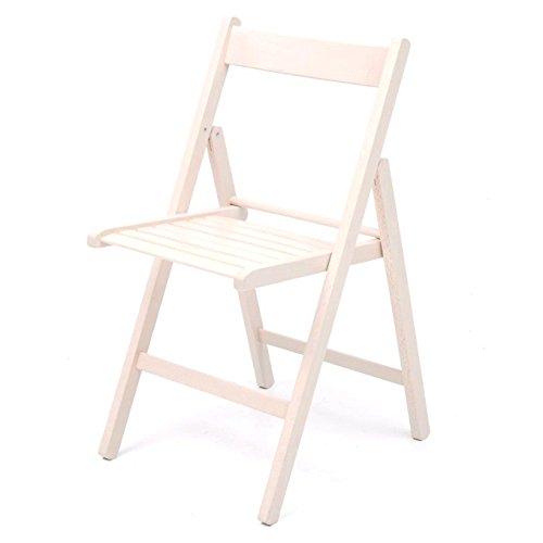 Sedia pieghevole in legno da giardino colore bianco confezione 6 pz