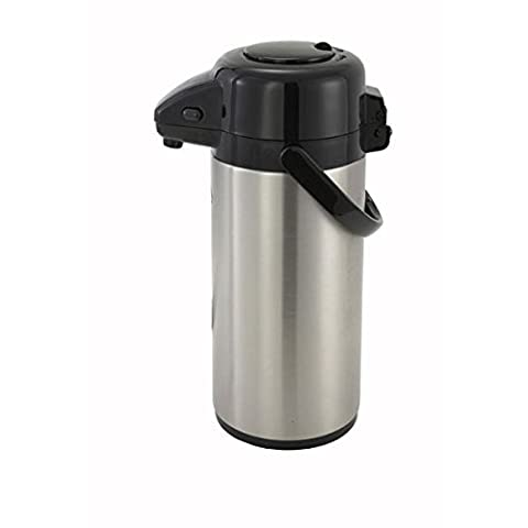 Winco Stainless Steel Lined Airpot, 2.5-Liter, Push Button