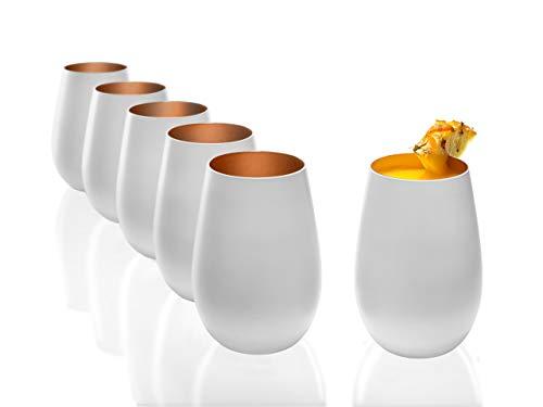 Stölzle Lausitz Becher 465 ml, 6er Set, Wassergläser in weiß (matt) und Bronze, spülmaschinenfest, bleifreies Kristallglas, hochwertige Qualität Weiße Becher