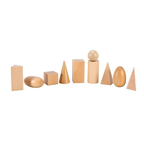 Learning Preschool & Education Mathematical Toys Cognitive Montessori Wood Geometric Shapes Solid Geometry Blocks Set 10pcs / set