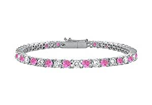 Pink Sapphire and Diamond Tennis Bracelet with 1.00 CT TGW on 14K White Gold