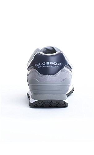 POLO RALPH LAUREN SLATON PONY NEWPORT navy scarpe uomo pelle sneakers Grau