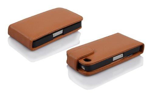 Cadorabo - Etui Housse Coque pour Apple iPhone 4 / 4G / 4S en Flip Style - Case Cover Bumper Portefeuille en BLEU CÉLESTE NOISETTE MARRON