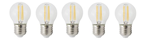 XQ-lite LED-Filament Glühbirne E27, 5-er Pack, 4 W ersetzt 35 W, 400 lm, warm weiß XQ1464-5