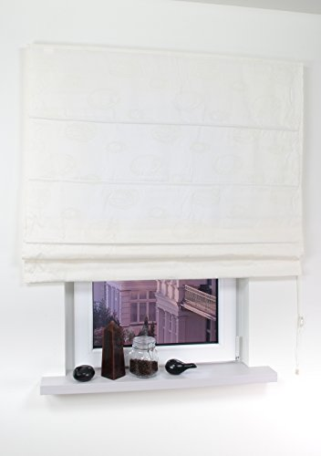 Paralume in tessuto, Roman finestra tenda-Cavo, cerchi, colore: panna, 60x