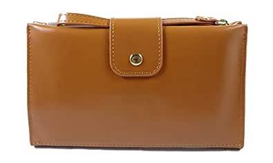 Surbhi Transparent Back Pocket For Mobile | Wallets for Women | Wallets for girls | Credit Card Holder | leather wallets for woman | Mobile wallets | cute wallets | wallets for Women Zipper | zipper with Hand Strap |Trending wallet for women and girls (BROWN)
