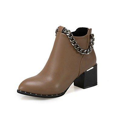 Rtry Femmes Chaussures Pu Automne Hiver Lanug Doublure Bottes Mode Bootie Bottes À Bout Rond Booties / Booties Casual Office & Apparel; Carrière Black Brown Us7.5 / Eu38 / Uk5.5 / Cn38