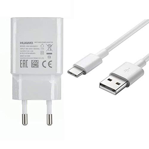 Ladegerät für Original Huawei HW-050200E01 2A Weiß/ Ladekabel AP51 Typ-C für Huawei Mate 20/ Mate 20 Pro/ Mate 10/ P20/ P20 Pro/ P20 Lite/ P10/ P10 Plus/ P9/ P9 Plus/ Honor 10/ 8/ MediaPad M5 10