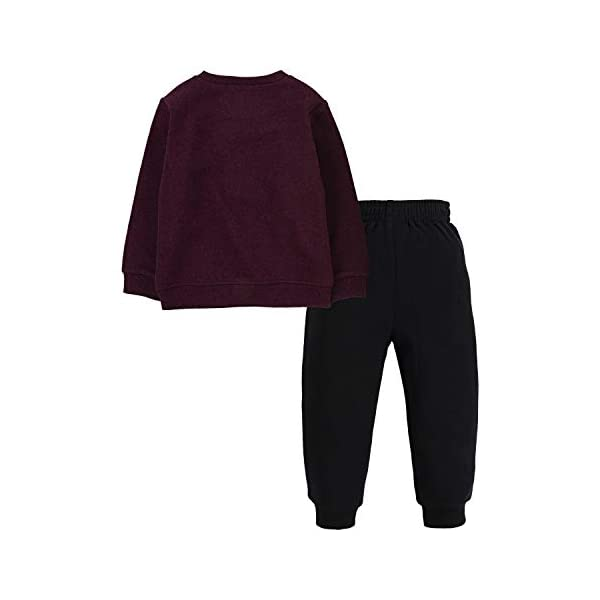 Hurley Baby Boys' Crewneck Sweatshirt and Joggers 2-Piece Outfit Set Casual Pants, Deep Maroon Heather/Black, 3 Years Hurley Pullover sweatshirt & joggers 2-piece set Soft fleece fabric Sweatshirt features a logo graphic at the chest 2