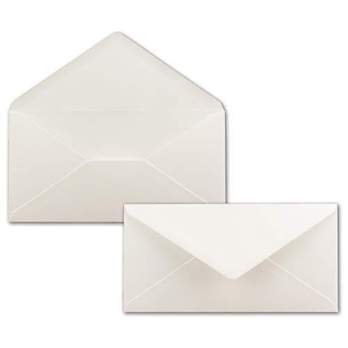 50 Brief-Umschläge Natur-Weiß DIN Lang - 110 x 220 mm (11 x 22 cm) - Nassklebung ohne Fenster - Ideal für Einladungs-Karten - Serie FarbenFroh®