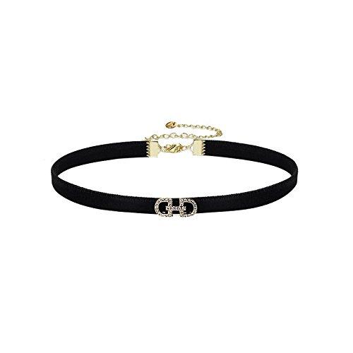 BAOZIV587 Japanischer Brief schwarz Wildleder Kragen Schlüsselbein Kette weibliche kurze Halskette Hals Nackenband, (vergoldet) (Wildleder Kit Schwarz)