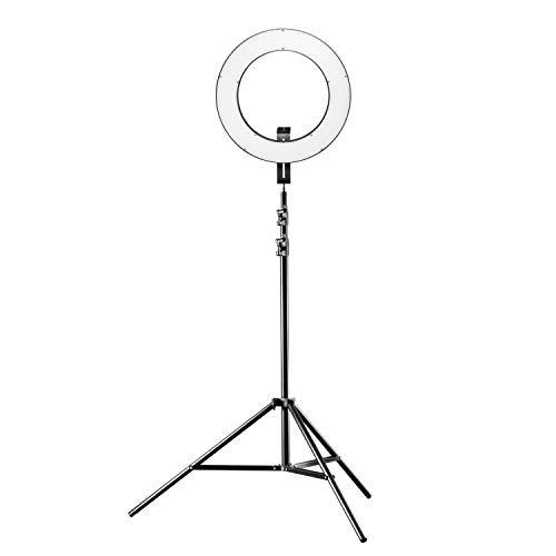 Walimex pro LED Ringleuchte 380 Bi Color Plus Stativ - modernes LED Ringlicht, Ø 38 cm, dimmbar, 3200-5600K, Betrieb per NP-F Akku oder...