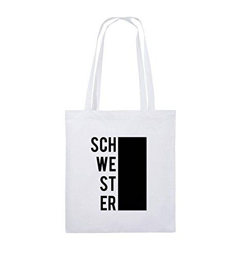 Comedy Bags - SCHWESTER - BLOCK - Jutebeutel - lange Henkel - 38x42cm - Farbe: Schwarz / Pink Weiss / Schwarz