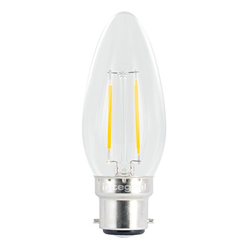 Integral LED non dimmable Filament Transparent Large Angle de faisceau bougie classique (Ampoule LED à culot baïonnette B22 2 W, 2700 K, 250 lm) – Blanc chaud