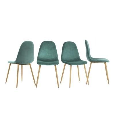 4er Set Stühle 44x44x87cm Grau Anthrazit Trend Skandinavisch Samt Fuß Metalloptik Holz Esszimmer Wohnzimmer Büro Schlafzimmer