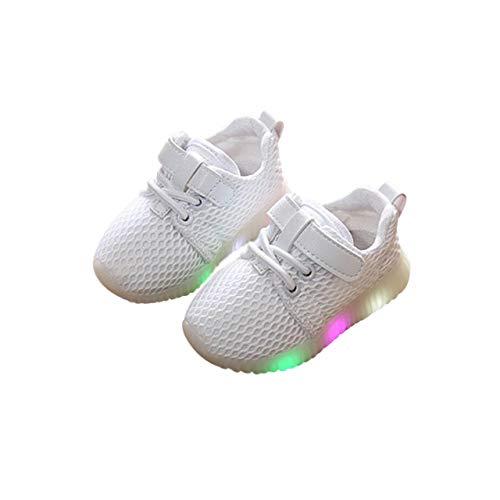 DEBAIJIA Scarpe Sportive per Bambini Ragazze e Ragazzi in Maglia Running LED Scarpe Luminose Lampeggiante Scarpe da Ginnastica Antiscivolo Traspirante Adatto per 1-6 Anni Bambini
