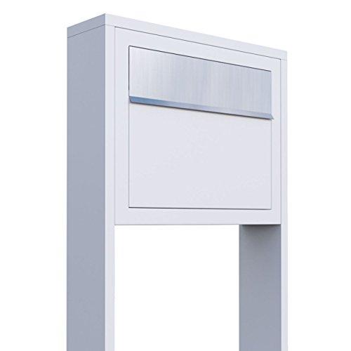 Standbriefkasten, Design Briefkasten Elegance Stand Weiß/Edelstahl - Bravios