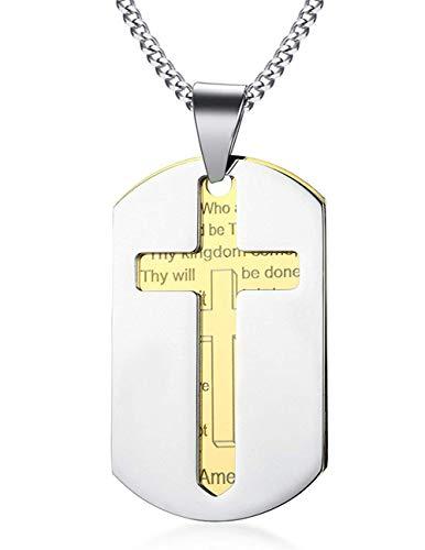 Xbyee la preghiera uomo acciaio verso della bibbia del signore e della croce doppio pendente della collana della piccola dog tag