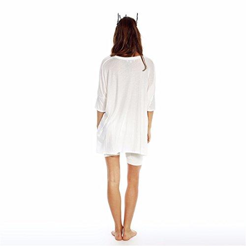 QIYUN.Z Boyfriend-Style Frauen Lose Buchstaben Gedruckt V-Ausschnitt, Die Unregelmaessigen Rand T-Shirts T-Shirts Weiß