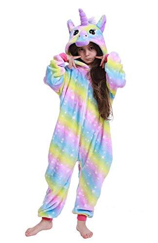 Re-Miss Kinder Tier Onesie Einhorn Tiger Lion Kostüm Cosplay Pyjamas Weihnachten (Kids Rainbow Galaxy Unicorn,  Alter: 10-11 Jahre: Passform Größe 130-140CM) (Miss Rainbow Kostüm)