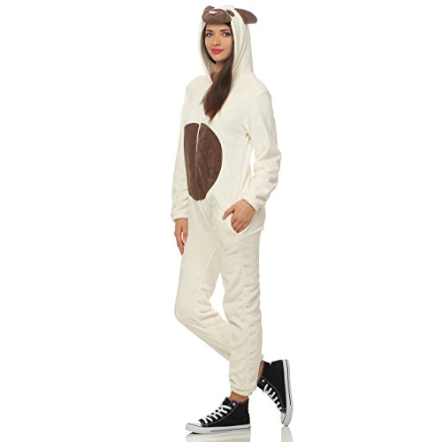 99N123 LBB Damen Jumpsuit Einteiler Overall Tier Anzug Hund Mops Gr S